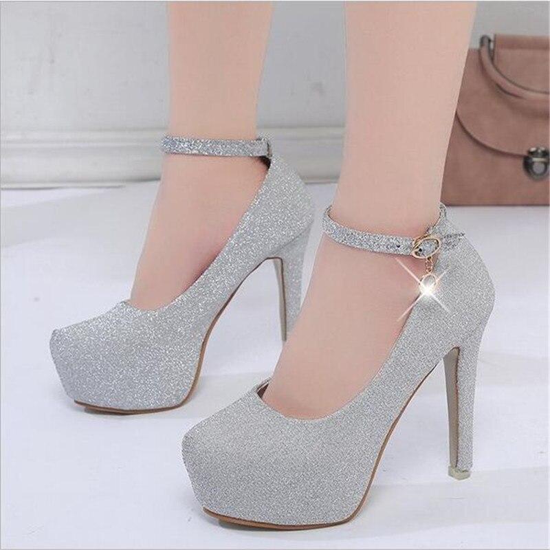 d186c471d 2018 women high heels prom wedding shoes lady crystal platforms silver  Glitter rhinestone bridal shoes thin