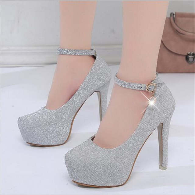 ef2a72f66887d5 Online Shop 2018 women high heels prom wedding shoes lady crystal platforms  silver Glitter rhinestone bridal shoes thin heel party pump