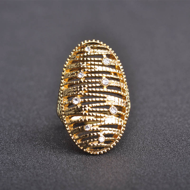 Fashion Multilayer Crystal Party Wedding Finger Rings Gold Plated Femininas Bijuterias Hollow Rings For Women Anillos Mujer