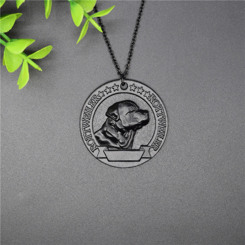 New Vintage Rottweiler Medal Necklace Retro Style Metal Rottweiler Pendant Necklace Women Jewellery Dog Jewellery