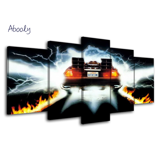 5Piece Wall Art Picture Back To Future Poster Car Canvas Art Posters Printed Home Decor Game Picture For Living  Room 5