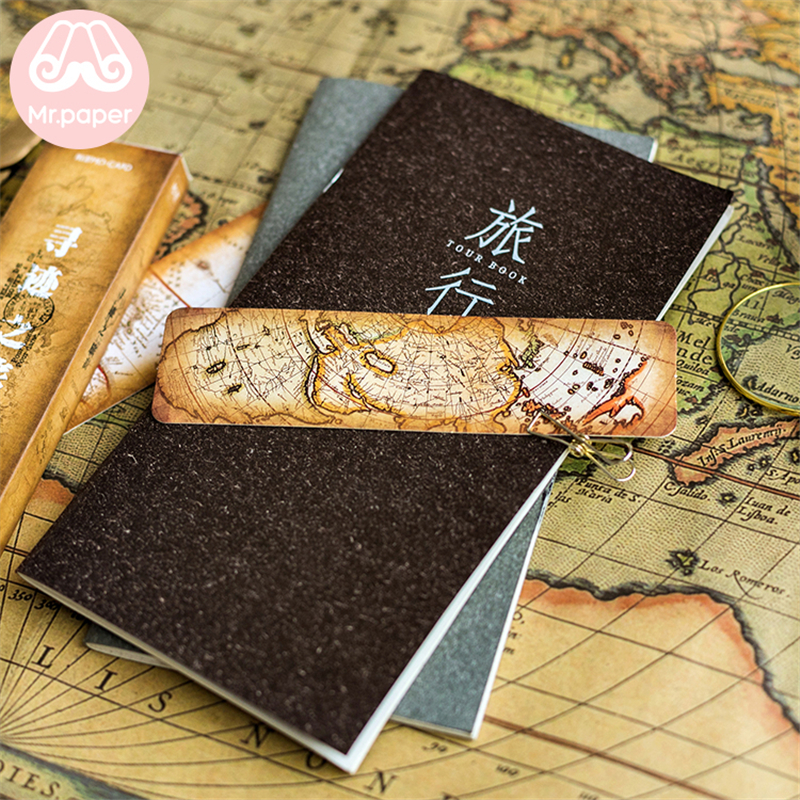 Mr Paper 30pcs/box Vintage Retro Style Wolrd Traveling Map Bookmarks for Novelty Book Reading Maker Page Creative Paper Bookmark 3