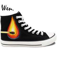 Wen Custom Hand Painted Skateboard Shoes Match Electric Bulb Design Unisex High Top Outdoor Sports Canvas Sneakers Black
