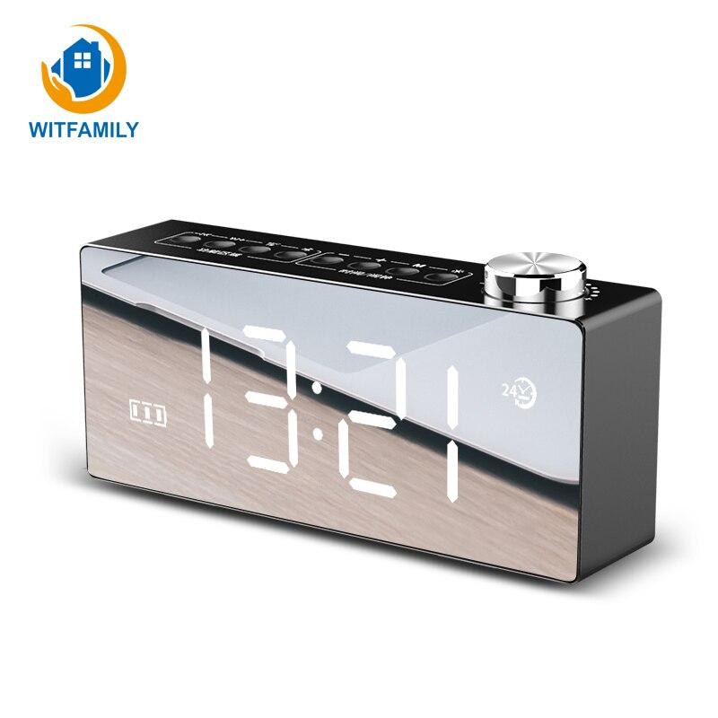 Multifunction LED Mirror HD Display Snooze Function FM Radio Bluetooth 4.2 Smart Desktop Alarm Clock Dual-horn Stereo Subwoofer
