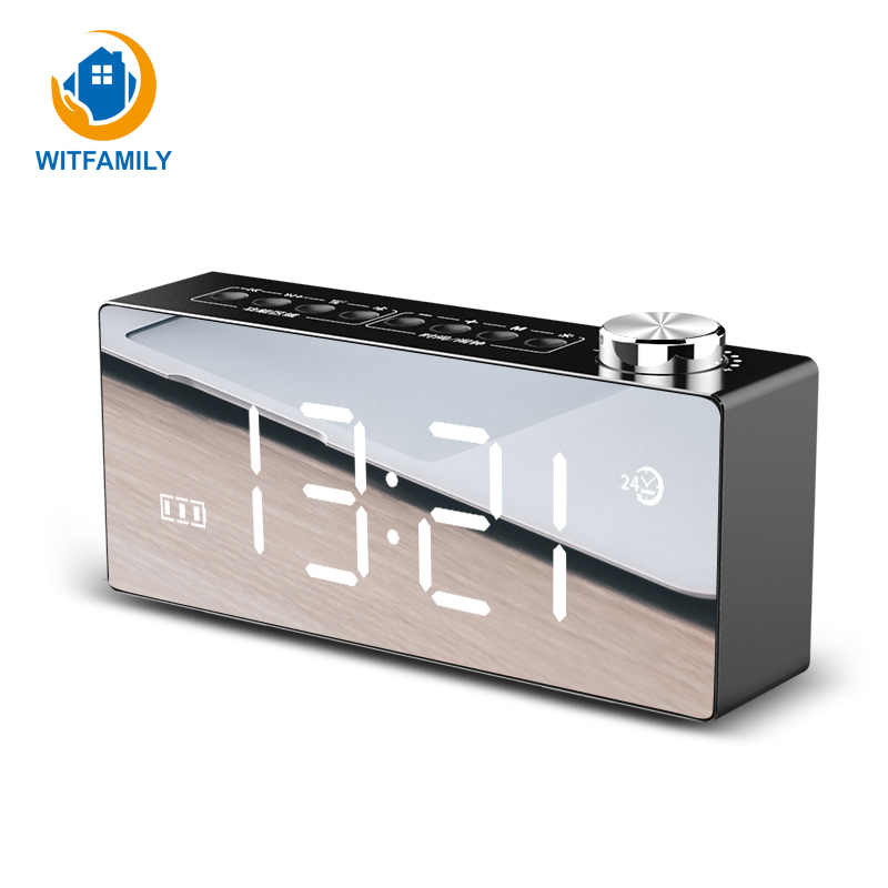 Multifunzione LED Specchio HD Display Snooze Funzione Radio FM Bluetooth 4.2 Smart Desktop Alarm Clock Dual-corno Stereo SubwooferMultifunzione LED Specchio HD Display Snooze Funzione Radio FM Bluetooth 4.2 Smart Desktop Alarm Clock Dual-corno Stereo Subwoofer