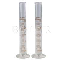 BQLZR 2Pcs 25ml Glass Laboratory Graduated Measuring Cylinder With Round Base