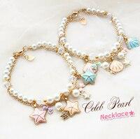 Envío libre gran fresco conchas y estrellas de mar cadena de oro rosa perla ajustable perros accesorios para mascotas collar joyería mascotas