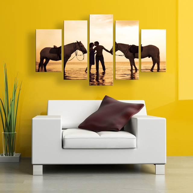 5 pieces large modern sunset lover with horse on the beach wall ...