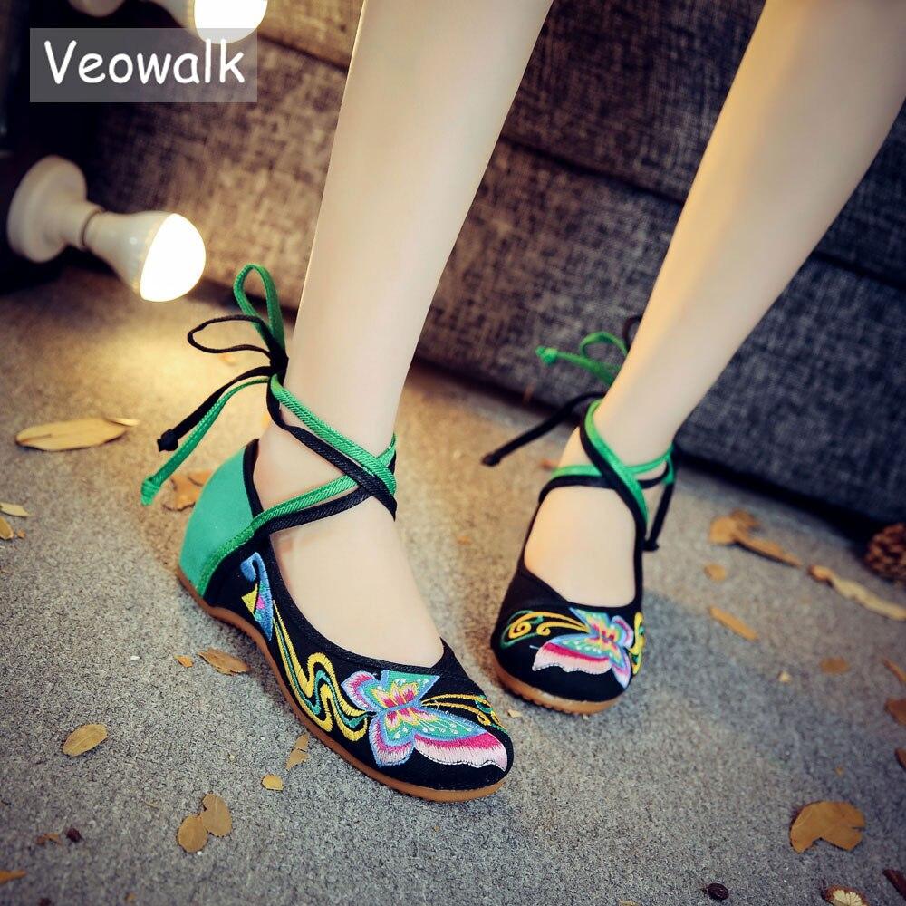 Machaon rouge up Chaussures Danse Veowalk En Main Vieux Dame Vintage Chinois Papillon Pékin Tissu Dentelle Noir Broderie Confortable UwPvwRqTx