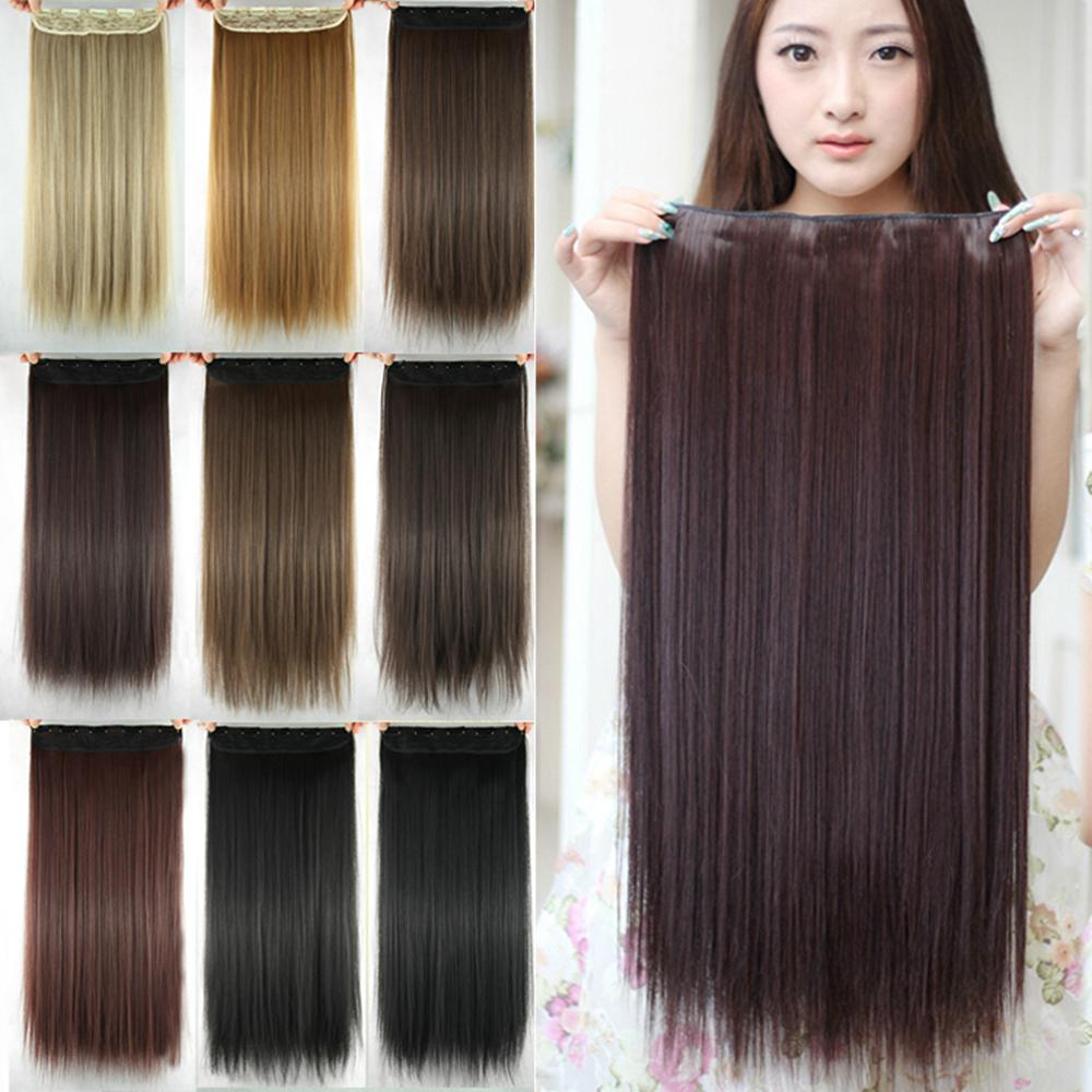 Women hair extensions black brown blonde natural straight 60cm long high tempreture synthetic woman hair extension
