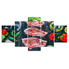 HD Prints Canvas Pictures Modern Wall Art 5 Pieces Food meat pork for kitchen Paintings Poster restaurant Decor Framework