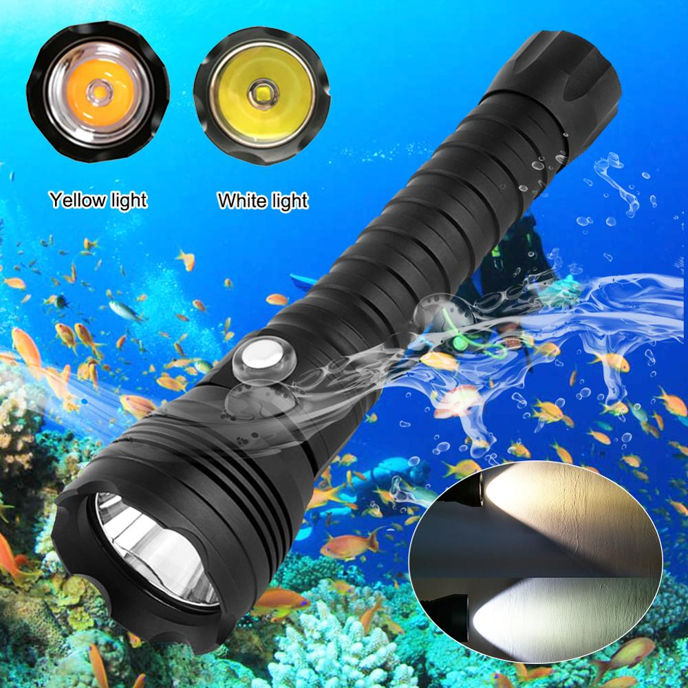 XHP70.2 LED lampe de plongée tactique 26650 torche jaune/blanc lumière 4000 Lumen sous-marine 100M étanche XHP70 lampe de plongée