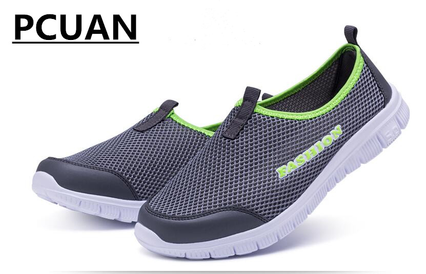 все цены на Men's Summer Shoes Plus Size 35-46 Comfortable Men Casual Shoes Mesh Breathable Loafers Slip-on Footwear онлайн