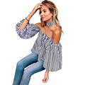 Lantern Sleeve Shirts Women Striped Blouses Off Shoulder New Sexy Women Tops Cute Blouse Female Plus Size Women Clothing Top