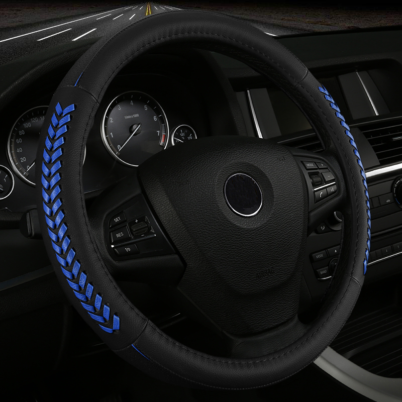 Hand-woven leather car steering wheel cover for CHERY A3 A5 E3 QQ QQ3 QQ6 ARRIZQ3 ARRIZQ7 automobile styling
