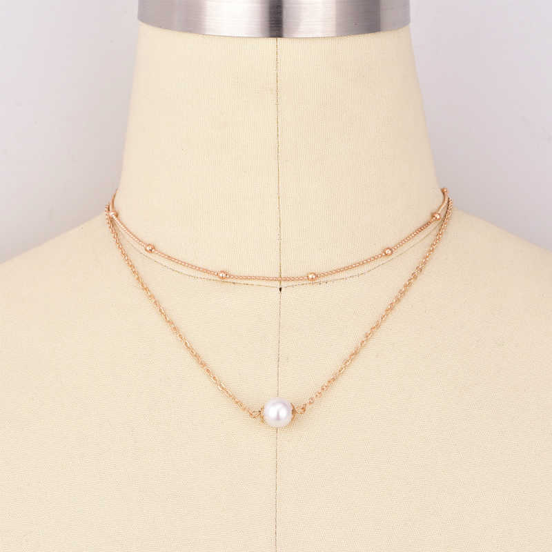 New Necklace Sweet Wind Europe And America Multi-layer Bead Chain Imitation Pearl Necklace Fashion Popular Simple Necklace