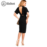 Sishot Women Bodycon Dresses 2017 Summer Lace Up Sexy Black Patchwork Stand Collar High Waist Backless