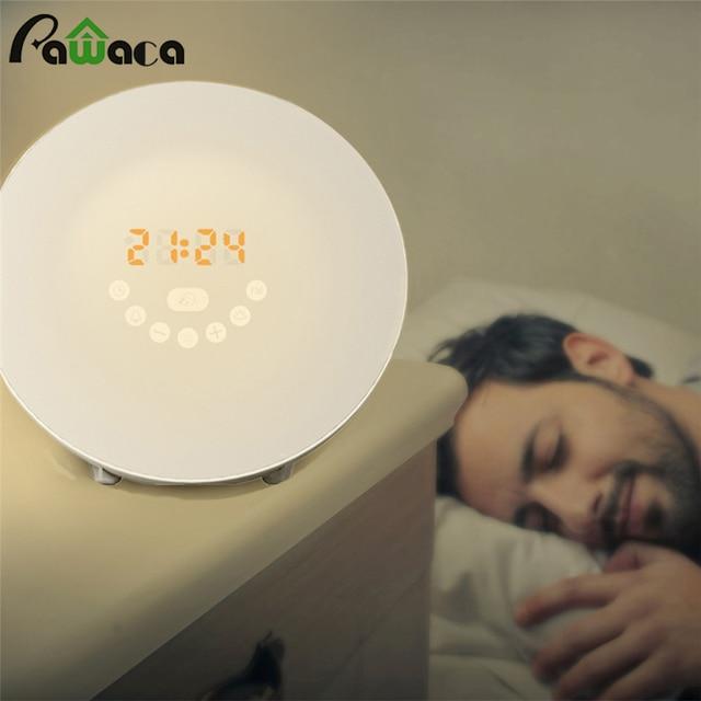 Рассветом закат проснуться цифровой светодиодный Будильник FM Радио электронный Будильники touch Сенсор ночник кроме лампы