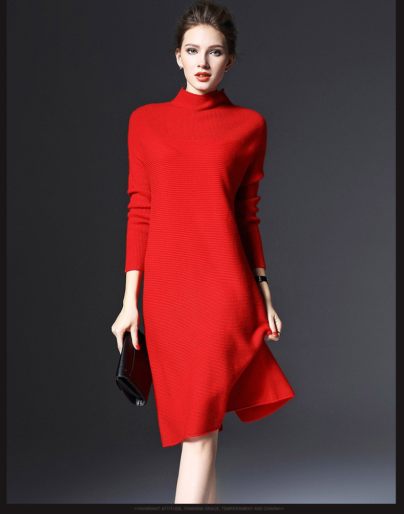 2019 Autumn and Winter Ladies New Simple Wild Long-sleeved Loose Bottoming Dress Was Thin Solid Color Knit Large Size Dress 4