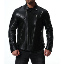 MarKyi Vertical zipper jacket mens leather winter plus size 5xl long sleeve motorcycle