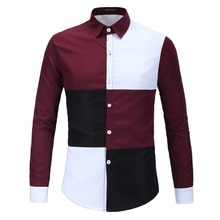 Brand New Men s Casual Shirt Social Patchwork Color Shirt Full Sleeve Turn Down Collar