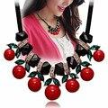Joyería de La estrella Collar de 2015 Nuevo Diseño de Moda Al Por Mayor Para Las Mujeres Maxi Negro Gem Cereza Declaración de Collares y Colgantes de La Venta Caliente