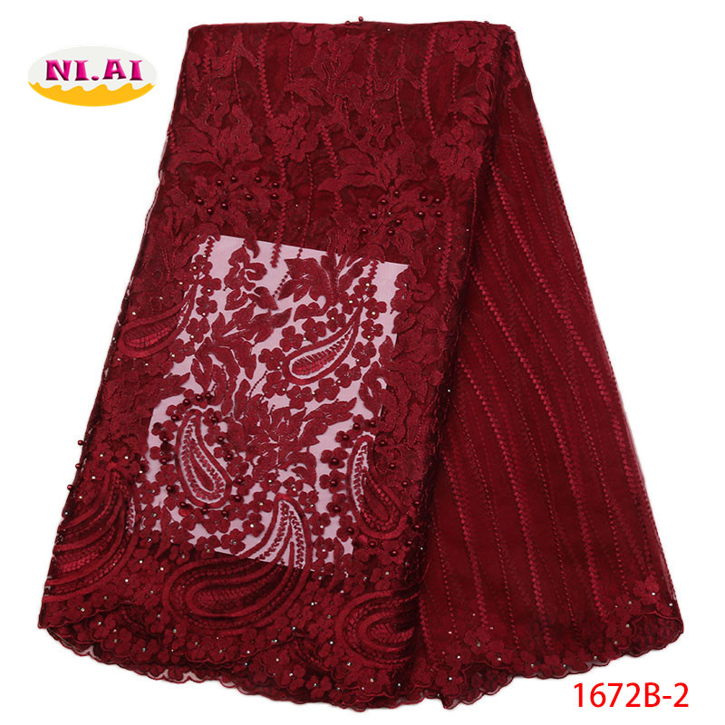 Wine African Lace Fabric 2018 High Quality Lace Pearls Embroidery Tulle Lace Fabric African Lace Beaded