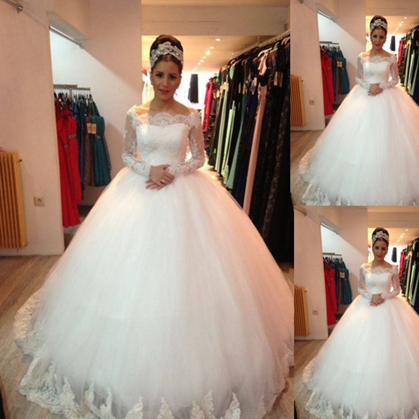 New Custom Made Long Sleeve Lace Wedding Dress Puffy Vintage
