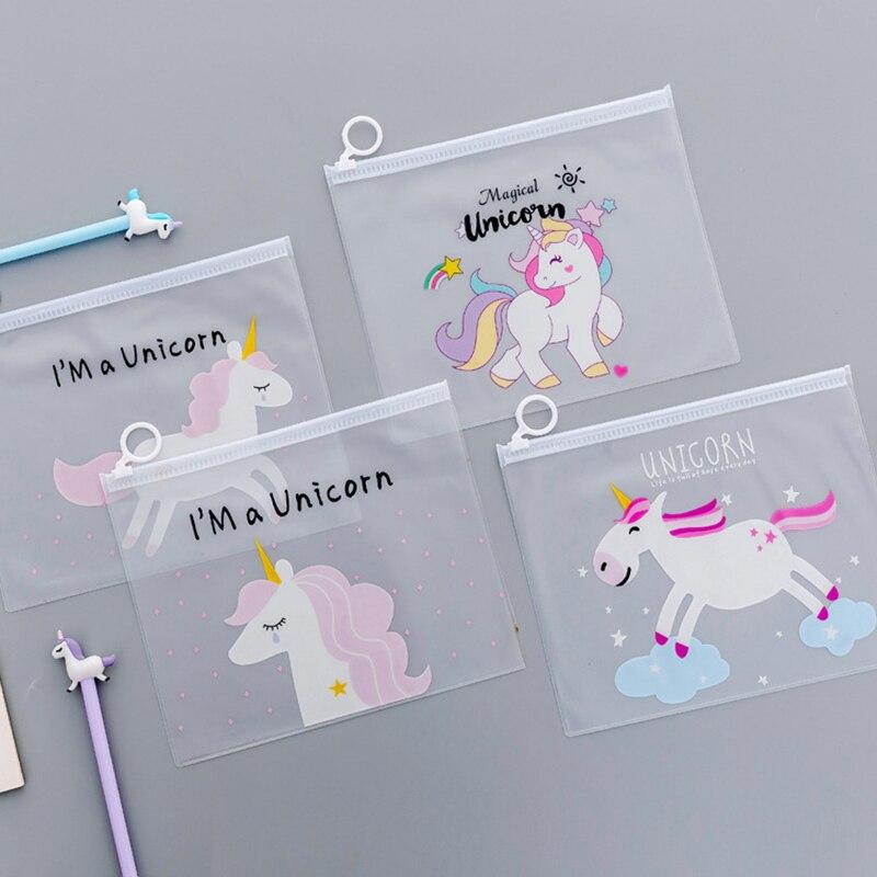 Creative Unicorn Pencil Cases Cute Kawai Transparent File Holder Pen Bag For Documents Korean Stationery Office School Supplies