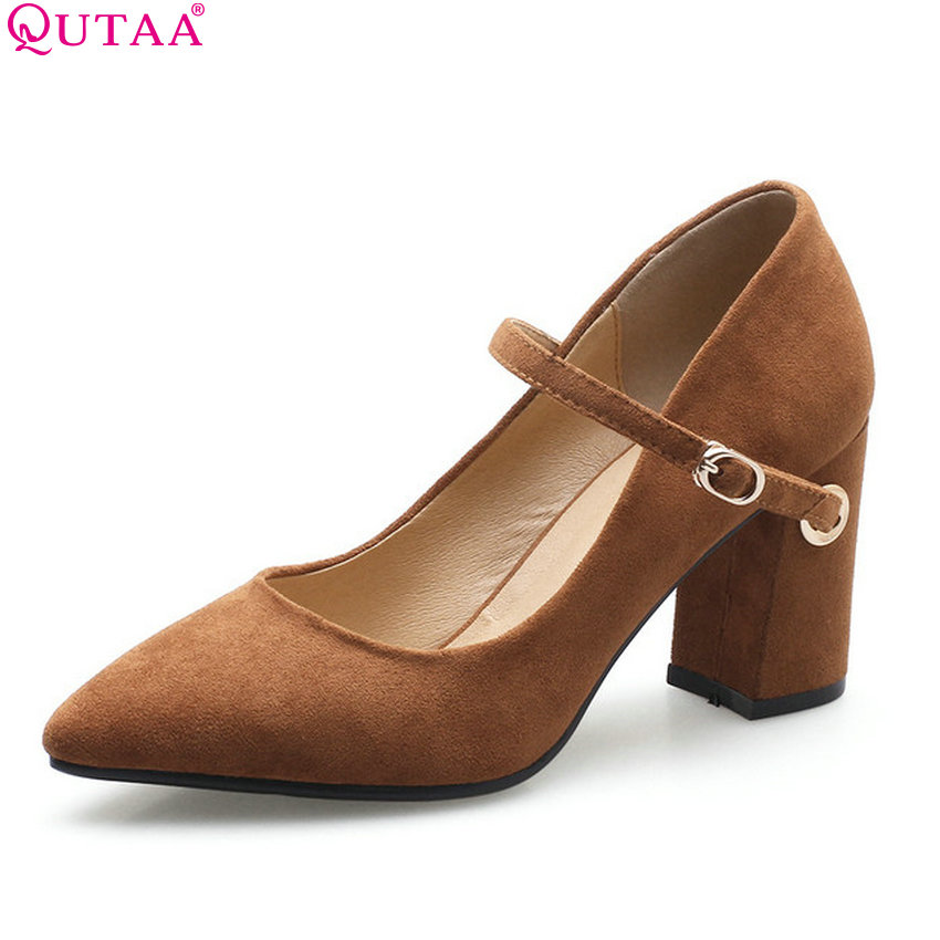 QUTAA 2018 Women Pumps Flock Square High Heel Pointed Toe All Match Westrn Style Fashion Shoes Platform Ladies Pumps Size 34-40 new 2017 spring summer women shoes pointed toe high quality brand fashion womens flats ladies plus size 41 sweet flock t179