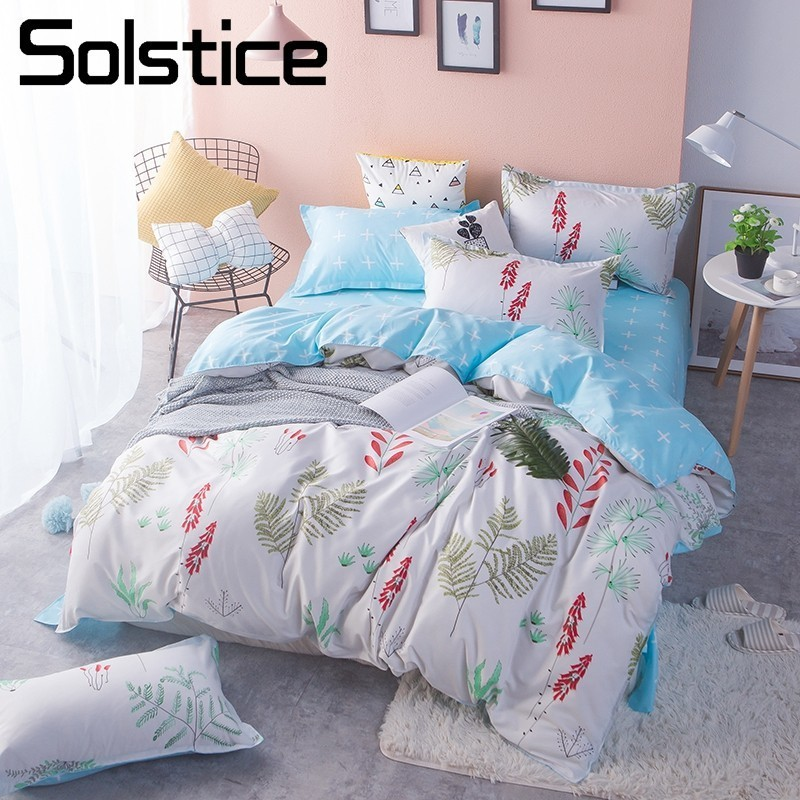 Solstice Home Textile Girls Teen Bedding Sets Duvet Cover Pillowcase Bed Sheet King Queen Twin Size White Flower Grace Bed Linen