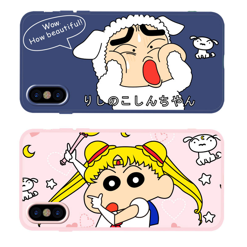 Kawaii Anime Phone Case For coque iPhone 8 7 6 6S Plus Funny Sailor Moon Crayon Shin-chan case silicon For iphone cover XS X XR 蠟筆 小 新 可爱 头像