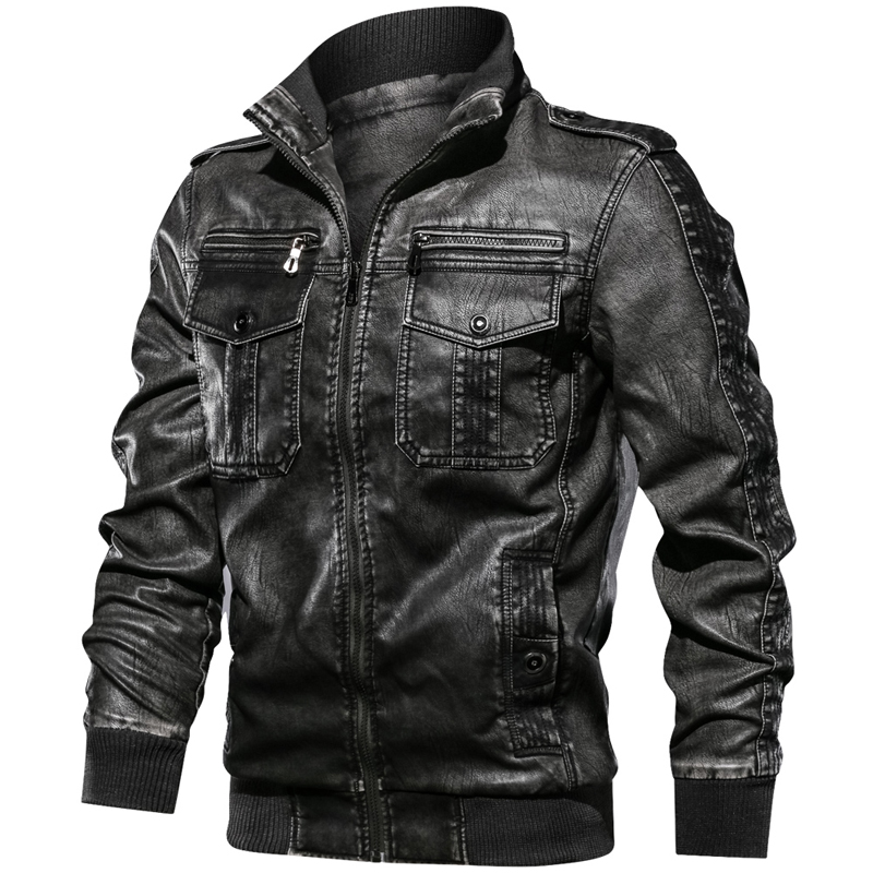 Military Army Mens Motorcycle Leather Jackets Coats Stand Collar Multi-pocket Pu Leather Coat European size S-XXL Dropshipping 7