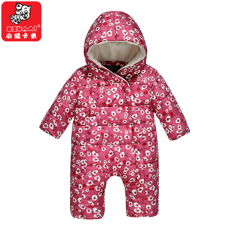 Newborn Baby Girls Floral Rompers Hooded Warm Baby Costume Autumn Winter Kids Jumpsuit Down Bebe Jacket One-pieces Baby Clothing baby rompers 2016 winter kids girls clothing wind fabrics warm velvet infant costume baby girl jumpsuit