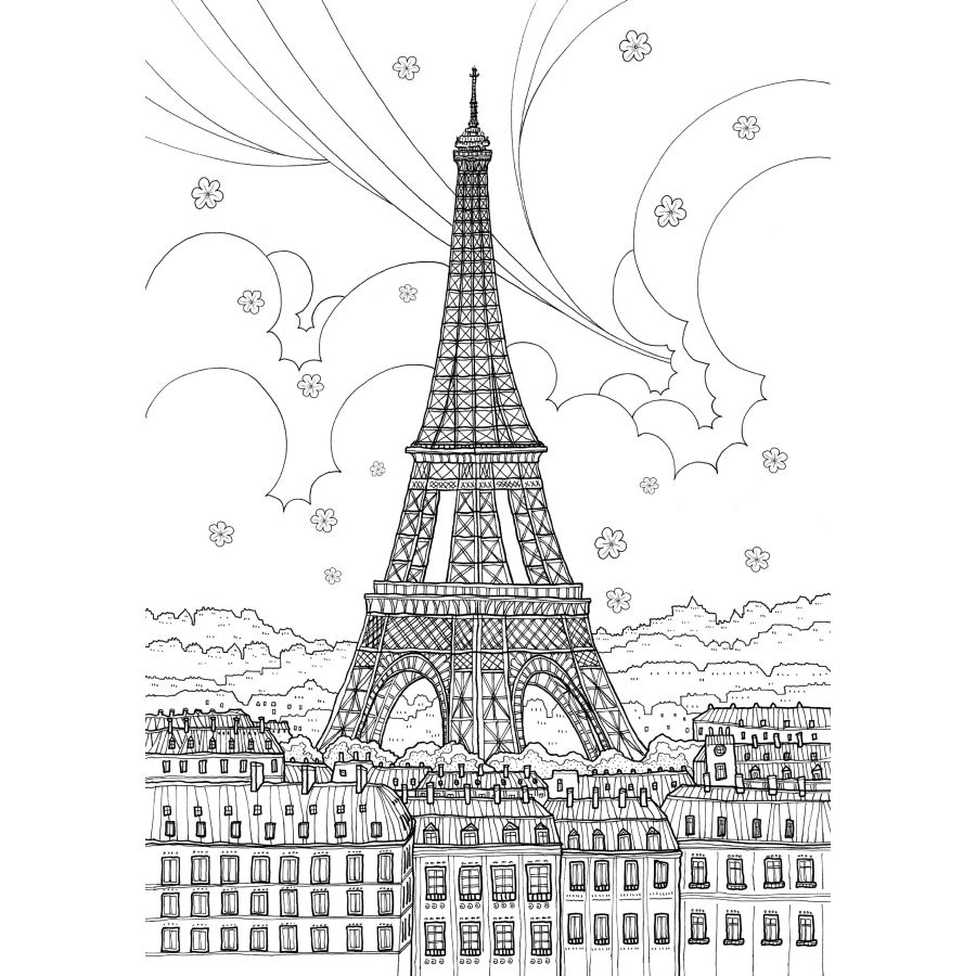 France Travel Coloring Book secret garden books style for adult ...
