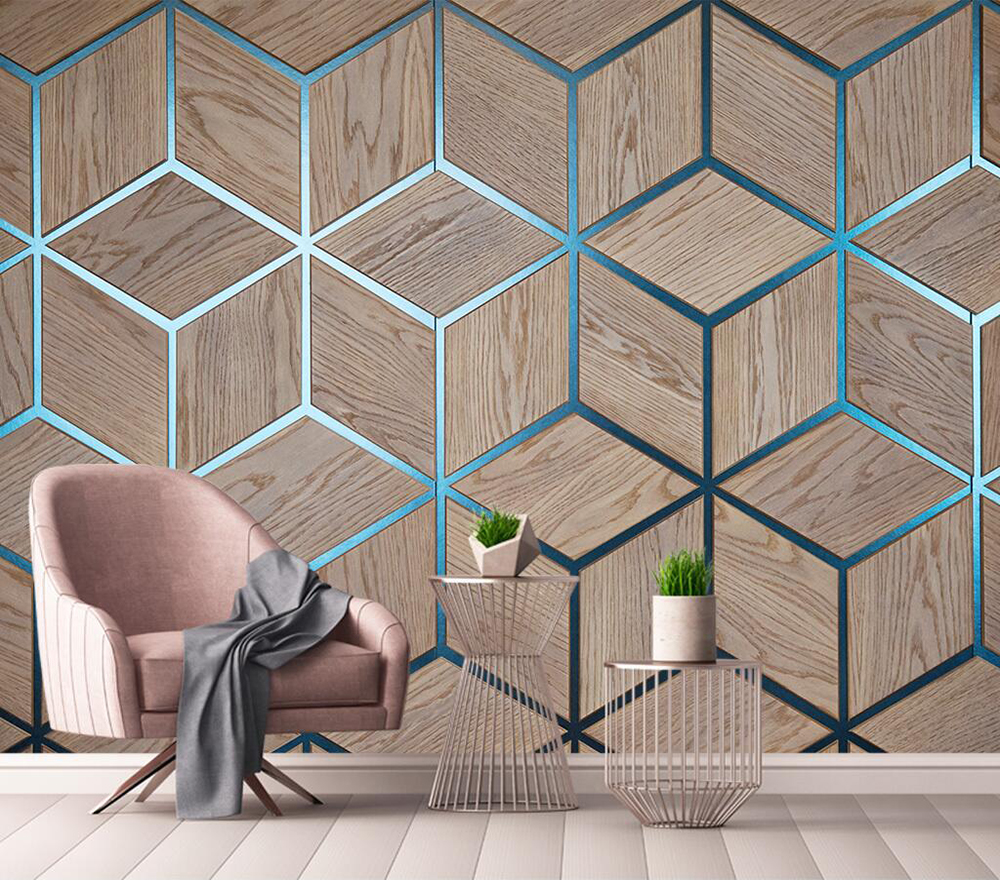 Decorative Wallpaper Geometric Wood Grain Line Background Wall Painting