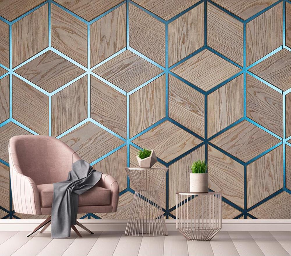 Decorative Wallpaper Geometric Wood Grain Line Background Wall Painting