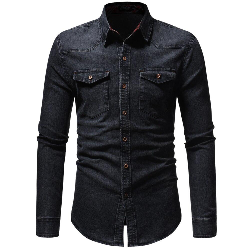 2018 Degli Uomini Della Camicia Classico Casual Demin Shirt A Manica Lunga Di Marca-abbigliamento Chemise Sociale Homme Jeans Di Usura Più Il Formato Xxxl Ottima Qualità