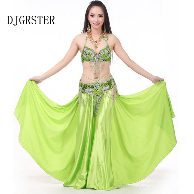 aac840bc222c DJGRSTER Bellydance Costume Set Bra&Belt&Skirt Belly Dance Dress 7 Colors Belly  Dancer Costume Professional Indian Clothes India