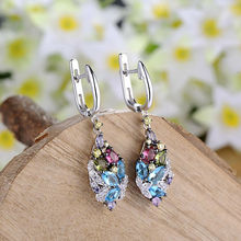 POPOKi Silver Long Earrings with Stone Cubic Zircon of Pastel Colors