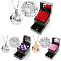 Artificial Rose Flowers Necklace Wedding Birthday Gift Box