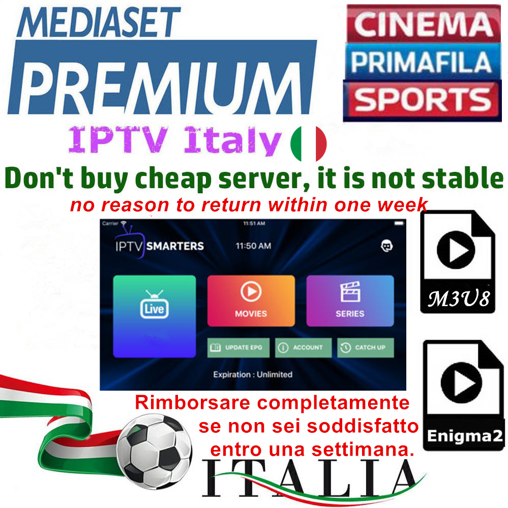 Smarters IPTV Italy IPTV Free 1/3/6/12 Months IPTV Subscription Dazn Italian Mediaset Premium With 660+ Italy Channels
