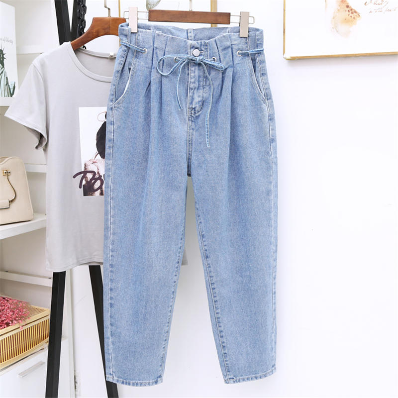 High Waist Jeans Women Loose Vintage Jeans Femme Denim Harem Pants Casual Streetwear Lace Up Plus Size 5XL Mom Jeans Mujer Q1457