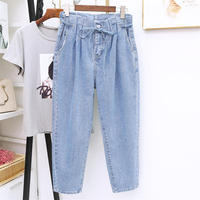 High Waist Jeans Women Loose Vintage Jeans Femme Denim Harem Pants Casual Streetwear Lace Up Plus Size 5XL Mom Jeans Mujer Q1457