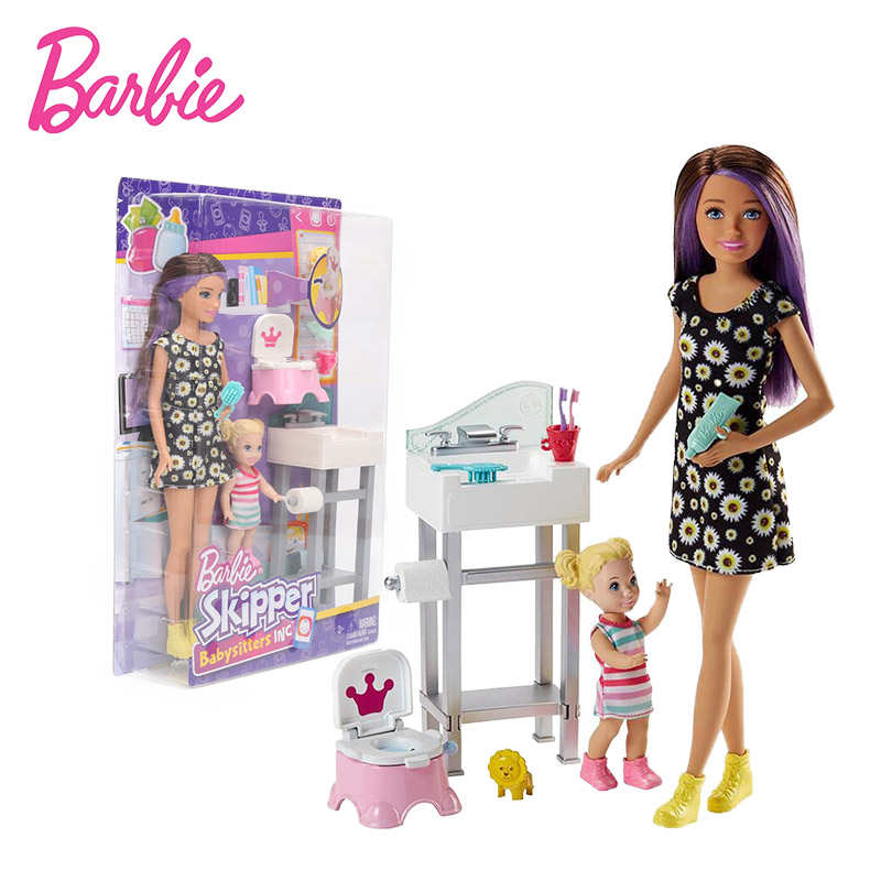 2018 26cm Original Barbie Doll Barbie Skipper Babysitters Inc Doll and Playset Barbie Toys Collectible Model Doll Toy for Girls