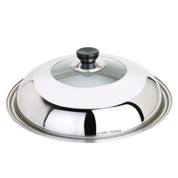 Diameter 32CM Cooking Lid Visible Body Wok Lid Stainless Steel Pan Cover High Clear Glass Lid