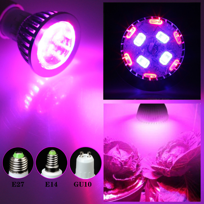 E27 E14 GU10 7W 6Red: 4Blue SMD LED Grow Light-lampa för blommande växter och hydroponics-system 85-265V Grow Bulb
