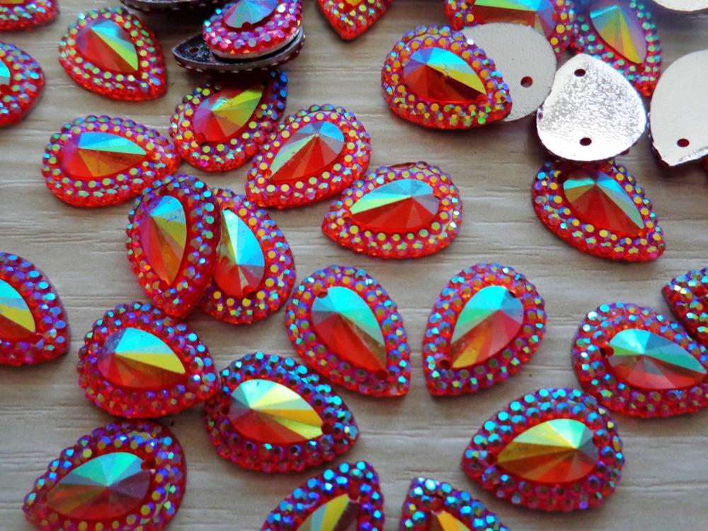 Dazzling Red sew on rhinestones water drop shape 10 14mm rhinestones crystal  resin stones flatback strass 120pcs aa400bb8c612