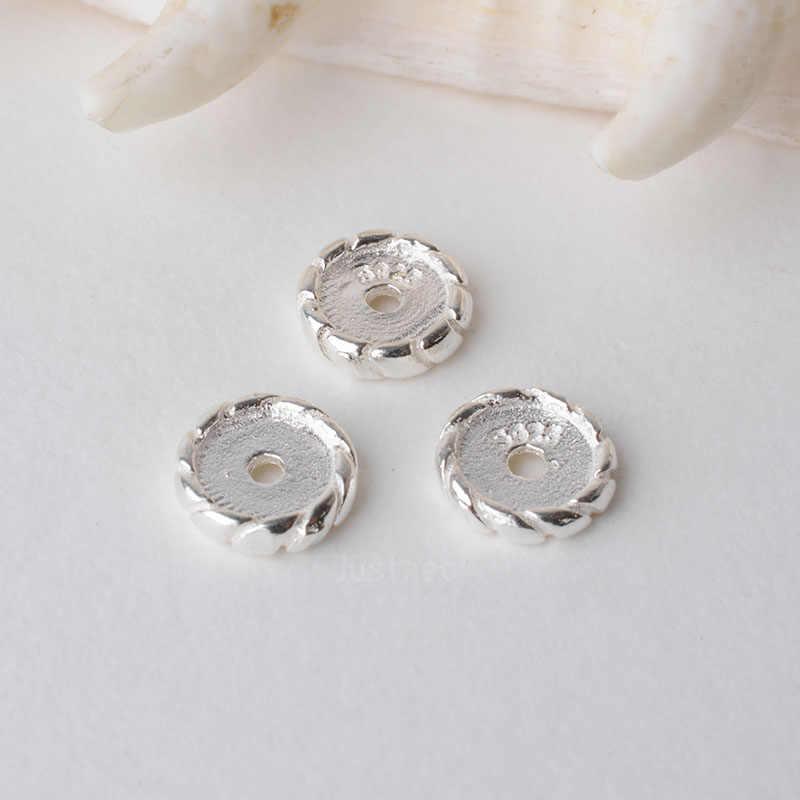 Solid 925 sterling silver branelli di fascino, distanziatore allentato del branello con 1mm foro componenti gioielli fai da te accessori