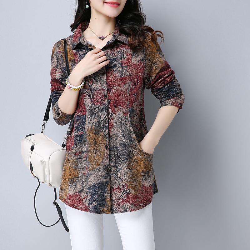 #2907 Long Sleeve Shirt Women Tie Dye Floral Print Cotton Linen Shirt Ladies Slim Casual Vintage Plus Size Cardigan Tunic Shirt